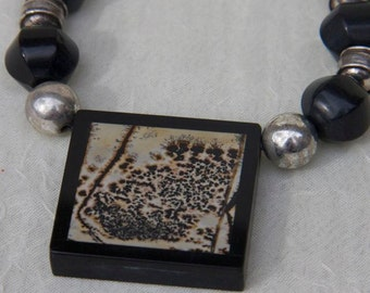 Necklace:  hill tribe sterling and jasper necklace rust black intarsis pendant onyx agate sterling silver beads toggle clasp OOAK