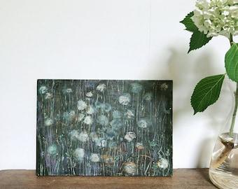 "Acrylic Original Painting  ""Dandelion hill""  On wooden panel   by Tetsuhiro Wakabayashi"