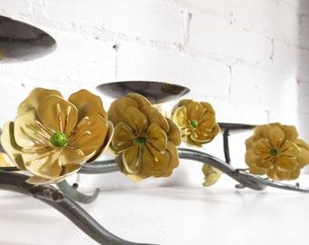 Vintage Floral Toleware Ornate Metal Floral Table Centrepiece and Candelabra