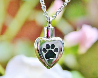 Paw Print on My Heart Pet Cremation Jewelry for Ashes Urn Necklace Ash Pendant Dog Cat Pawprint Memorial Gift Stainless Steel Chain Loss