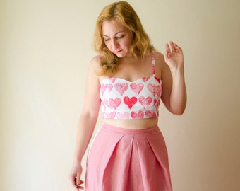 Crop Bustier Top with Sweetheart Neckline printed with Hand Stamped Pink Hearts