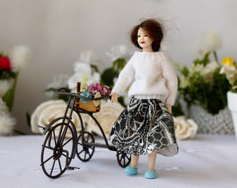 Heidi Ott lady White sweater Silk skirt Dollhouse lady doll clothes Miniature Hand knitted sweater women Heidi Ott doll 1:12 scale doll