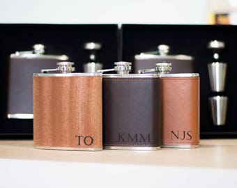 Personalized Groomsmen Flask - Leather Flask Gift Set Wedding Party Gift Monogrammed Hip Flask Initials Monogram Groomsman Wedding Gift