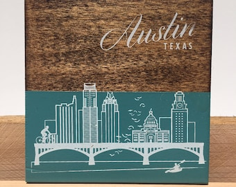 Hand Crafted Wooden Coaster - two tone Austin