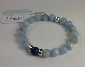 Aquamarine bracelet, dumortierite and sterling silver. Unique creation made entirely by hand.