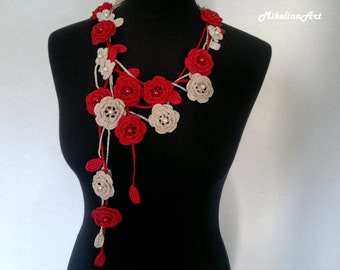 Crochet Rose Necklace,Crochet Neck Accessory, Flower Necklace, Red & Ivory, 100% Cotton.