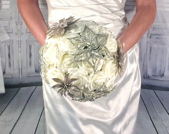 Champagne Bouquet, Winter Wedding Bouquet, champage gold glitter ivory flowers, Christmas Wedding, ready to ship bouquets
