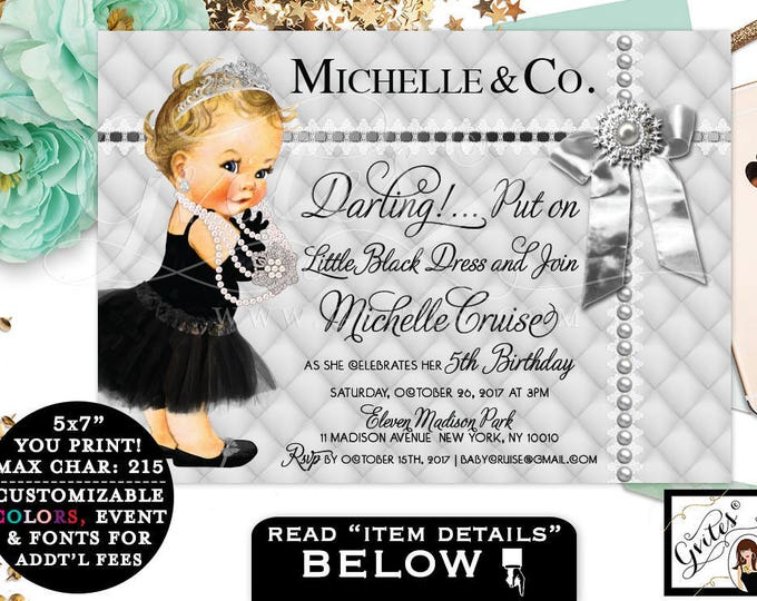 Silver Baby Birthday Printable Invitation, Audrey Hepburn Baby Girl 5th Birthday, first birthday, bow baby and co. Any Bday! Gvites