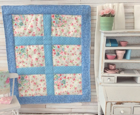 """Miniature Country Blue Flag Quilt 5 1/2"""" x 6 1/2"""""""