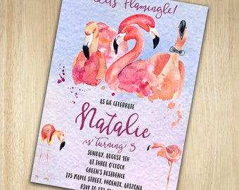 Flamingo Birthday Invitation, Flamingo Party Invitation, Flamingo Invitation Flamingo Party, Let's Flamingle Invitation, Tropical Invitation