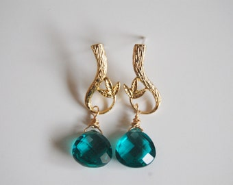 Paraiba Blue Quartz  drop earrings