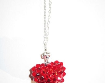 Because you hold my heart.. Dainty Red Pavé rhinestone heart pendant necklace on Sterling chain