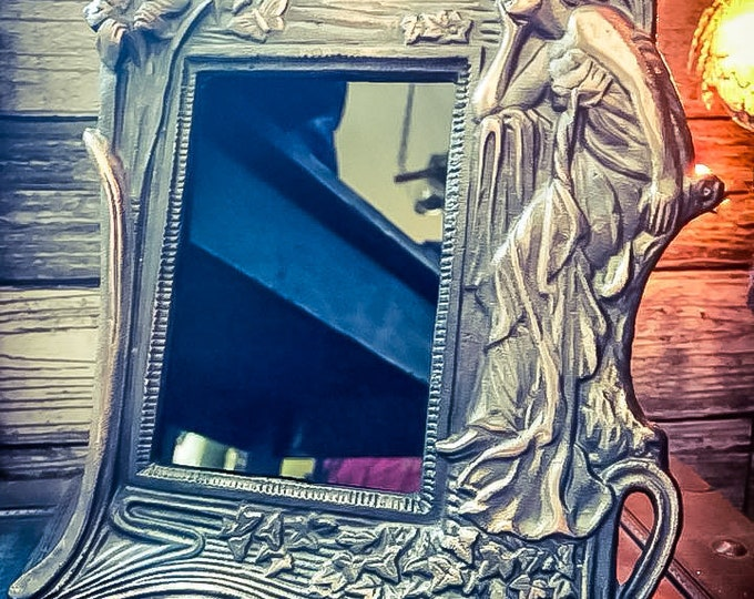 Featured listing image: For Michelle ONLY Antique Art Nouveau Scrying Mirror, Vintage Divination Mirror, Art Nouveau Black Mirror, Black Scrying Mirror, Cast Iron