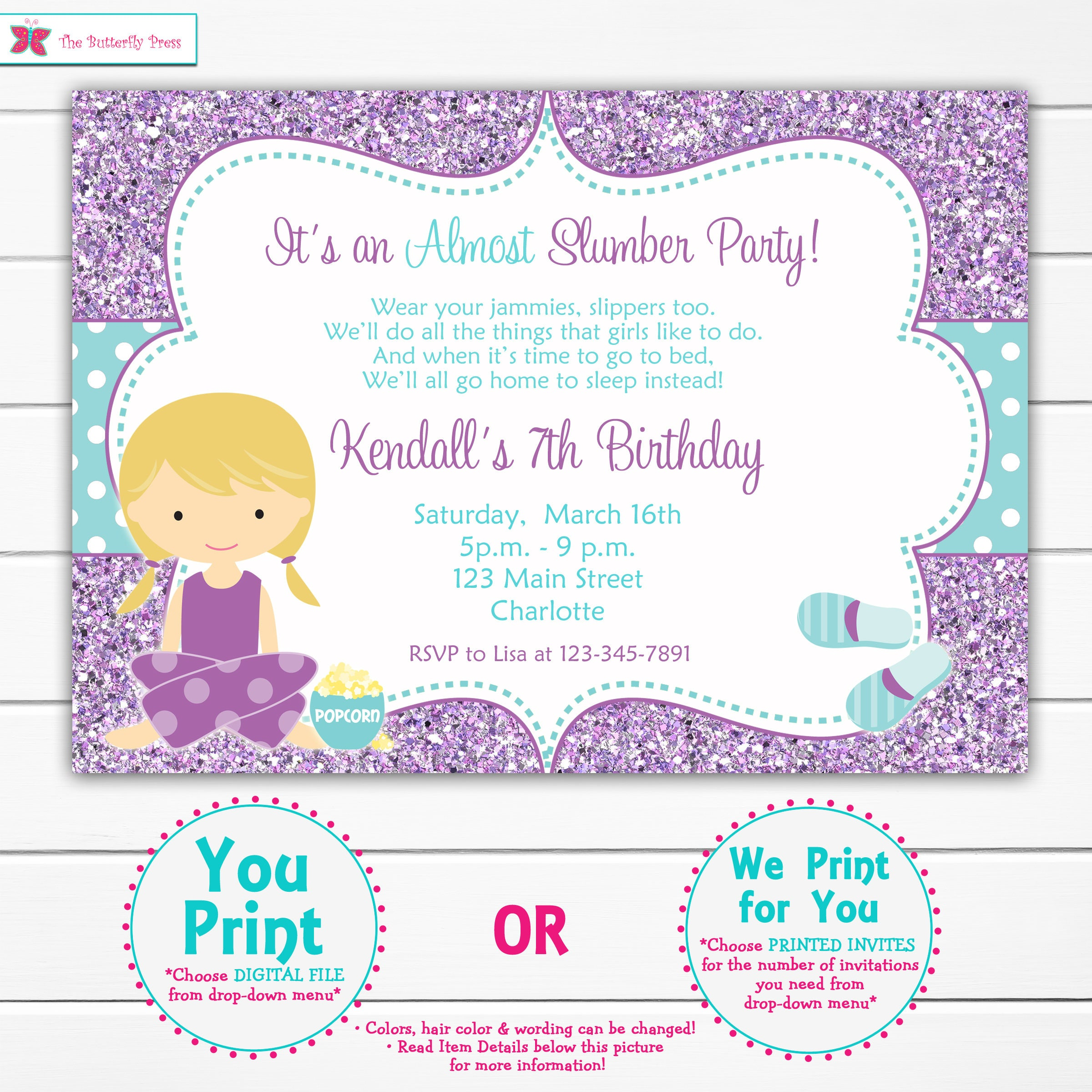 almost a slumber party birthday invitation pretend sleepover