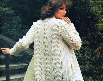 Instant DOWNLOAD - Knitting PATTERN - Ladies Aran Fisherman Knit Coat - Retro - Sizes 32 to 40 in bust