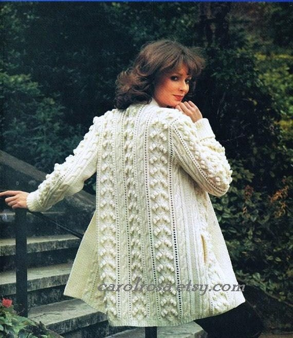 Instant Download Knitting Pattern Ladies Aran Fisherman