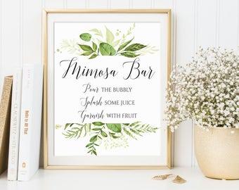 Mimosa Bar Sign, Wedding Sign, Bridal Shower Sign, Bubbly Bar Sign, Wedding Bar Sign, Wedding Decor, Greenery Decor, Mimosa Bar Print, C8