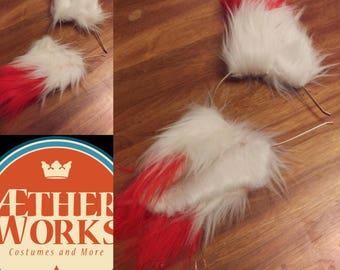 White and Red Kitsune Fox ears costume,Christmas, Furry, Cat ears, Wearable ears, Custom made ears rave ears Holidays gift Okami