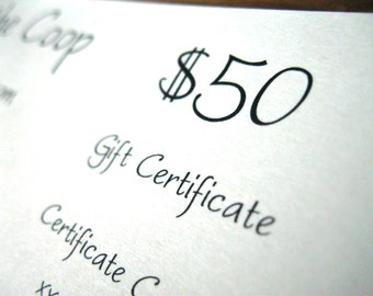50 Dollar Gift Certificate sTuck in the Coop Personalized Jewelry