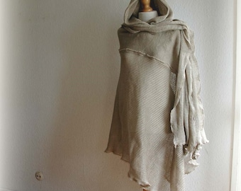 Grey Poncho LINEN,Knitted Linen,  Hooded Poncho ,Unique Clothing, Bocho Clothing, Man Poncho, Natural Clothing,Wrap Sweater,Grey Poncho,