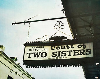 """New Orleans Art Photograph. French Quarter  Print. """"Court of Two Sisters"""" Mardi Gras, Wall Art, Home Decor"""