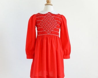 "SALE Vintage 1970s Girls Size 6 Polly Flinders Hand Smocked One Piece Red Dress VGC Prairie Girl Style, b24"" L25"""