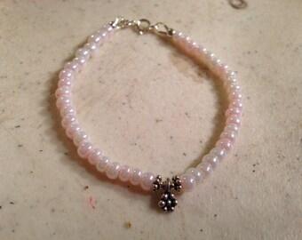 Pink Bracelet - Children Bracelet - Flower Girl Jewellery - Sterling Silver Jewelry - Wedding - Chain - Flower - Fashion - Beaded