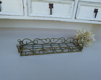 Patina Bronze Metal Wire Small Basket Tray ~ Centerpiece ~ Primitive Urban Farmhouse