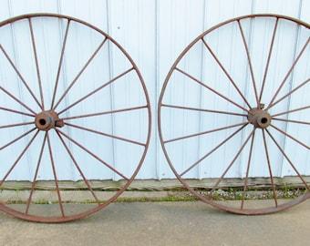"Pair of antique 39 1/2"" wagon wheels, 16 spoke, metal, iron works, farm, industrial, Yard Art"