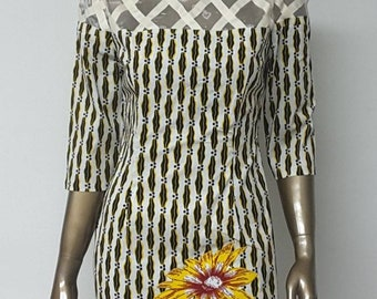 AYAWAX Collection. African Print Sheath Mini Dress. Sleeves. Lattice Work Yoke. Applique. Handmade. Womens.