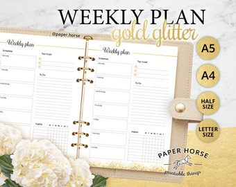 Half, Letter, A5, A4, Gold Weekly planner printable PDF Printable inserts, Week schedule, Weekly planner Filofax, Weekly plan, week planner