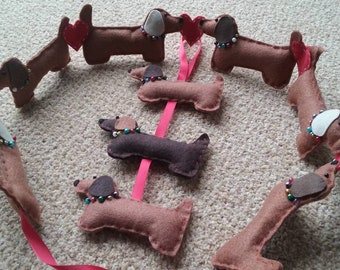 Handmade Dachshund Sausage Dog Decorative Hanging - 3 Dogs / Sign / Gift