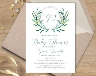 Greenery Baby Shower Invitation / Eucalyptus Crest / Initial Monogram Crest, Eucalyptus Leaves, Olive▷ Printable File {or} Printed & Shipped