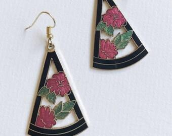 Vintage Cloisonne Dangle  Earrings