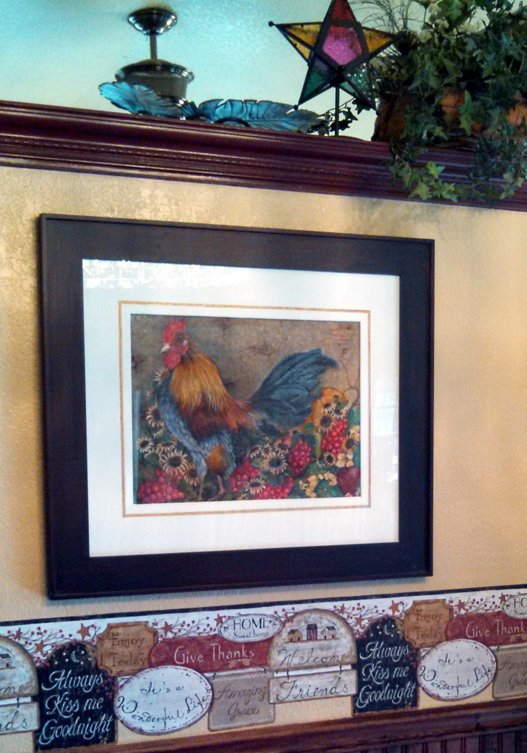 Country Rooster Prints Dining Room Decor Fine Art Chicken Prints Kitchen  Decor Farmhouse Chic Sunflowers Grapes Fall Prints Blue Red Yellow