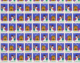 1963 Christmas Seals  Issued by American Lung Association, Full sheet of 100 Seals, Snowman and House, Vintage Ephemera