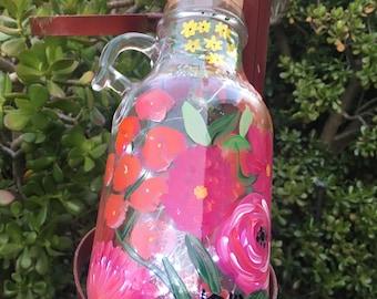 Large floral fairy jug