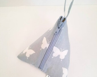 Butterfly Notions Pouch, Knitting Notions Pouch, Triangle Pouch, Small Notions Bag, Accessory Pouch, Travel Pouch, Wedge Pouch