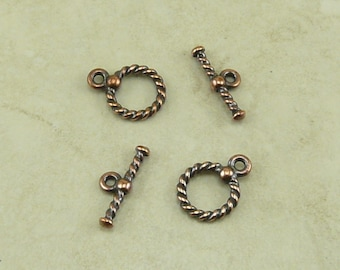 2 TierraCast Small Twisted Rope Toggle Clasps - Copper Plated Lead Free Pewter - I ship Internationally 6036
