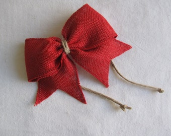 RED Burlap Bow Napkin Ring