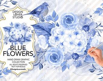Watercolor BLUE FLOWERS design, Indigo blue watercolor flower,  Floral Clipart, Leaf clipart, Wedding Clip Art, wedding invitation