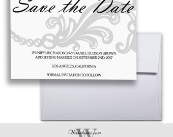 Wedding Save the Dates, Grey Wedding Announcements, Floral Save the Dates, Grey Wedding Invites