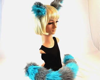 Cheshire Cat Inspired Ear Tail Clip On Combo in Faux Fur Blue and Gray