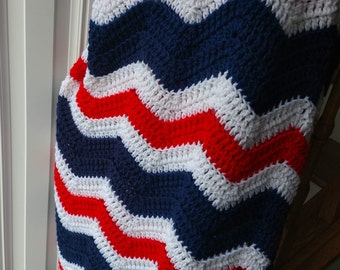 New Item! Patriotic Blanket, Fourth of July Crochet Ripple Afghan, Red, White, and Blue Throw, U.S.A. Celebrations, Country Goods