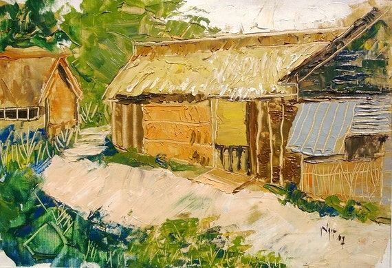 """MEKONG HOUSE 17x12"""" textured oil on canvas, live painting, Mekong Delta (Cần Thơ Province), original by Nguyen Ly Phuong Ngoc"""