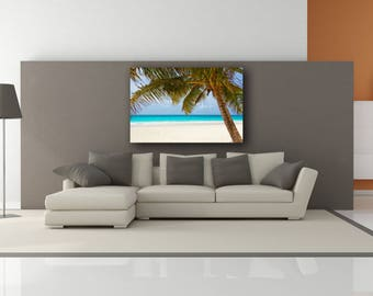 Large Tropical Beach and Palm Trees  Canvas Print ONLY (No Frame) - Caribbean Blue Water Nautical Beach Theme Portrait Paradise