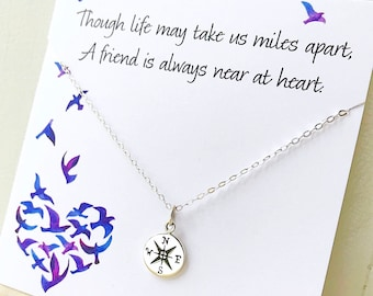 Graduation gift, Compass necklace on friendship card, Best friend gift, friendship necklace, bridesmaid gifts, compass charm, otis b jewelry