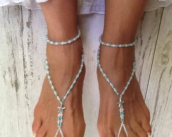 Barefoot Sandals, Stretch Starfish Barefoot Sandal, Sandals for a Wedding, Foot Jewelry for the Beach, Sandals for a Bridesmaids Gift