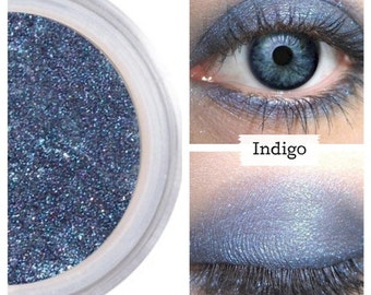 Indigo Eyeshadow, Denim Midnight Blue, Intense Color, Shimmer Finish, Crease Free, Velvet, Loose Pigment, Powder Formula, Natural, Vegan