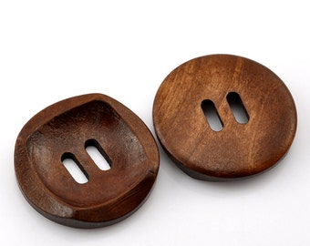 """6 Round With Square Detail Concaved Wood Button Two HoleCoffee Colour 30mm (1 1/8"""")  - 6 Pack PWB02"""